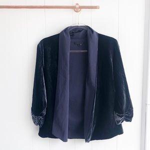 Theory Ashbey Blue Velvet Drape Blazer